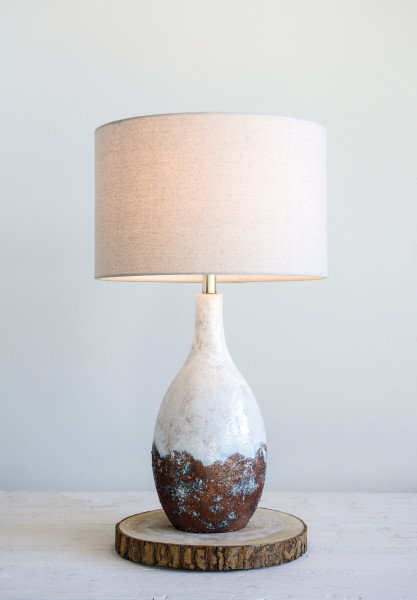 2-Tone Ceramic Table Lamp with Linen Shade (Each one will vary)
