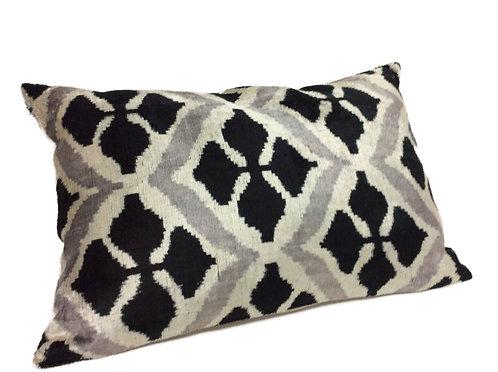 Black Pearl - IKAT Silk/Velvet Pillow