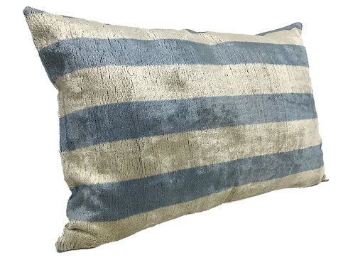 Polo Blue Stripe - IKAT Silk/Velvet Pillow