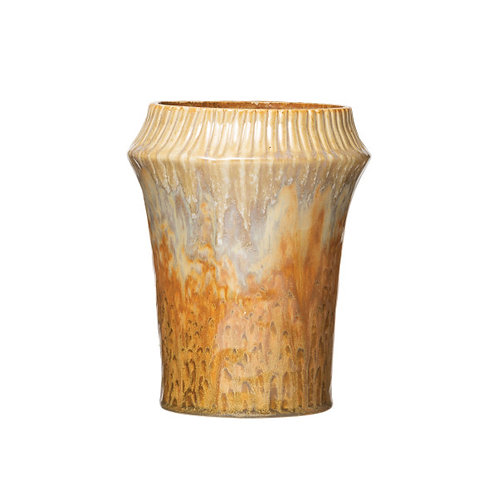 Stoneware Vase with Crimped Rim & Reactive Glaze Finish