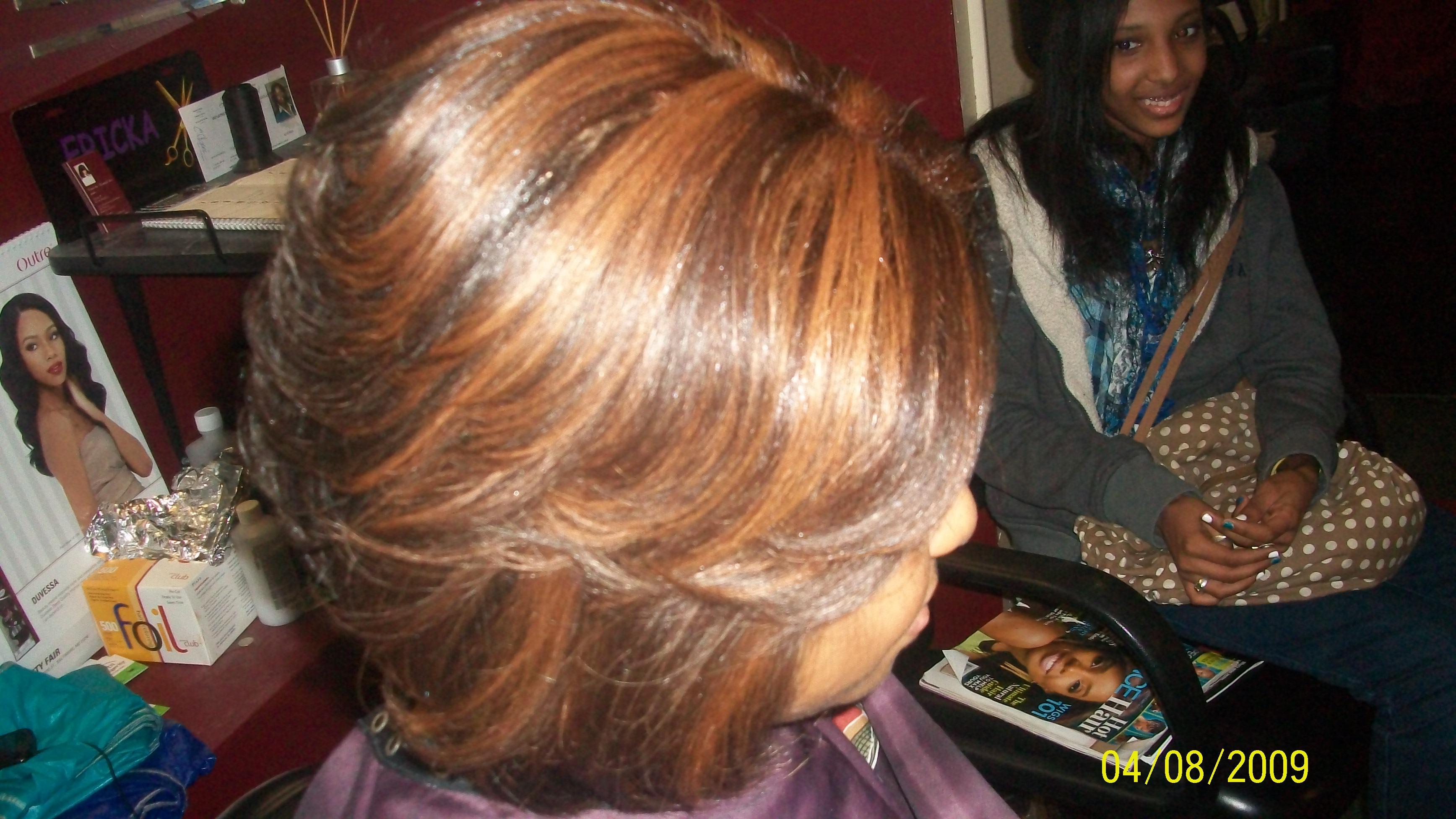 natural hair press and high light