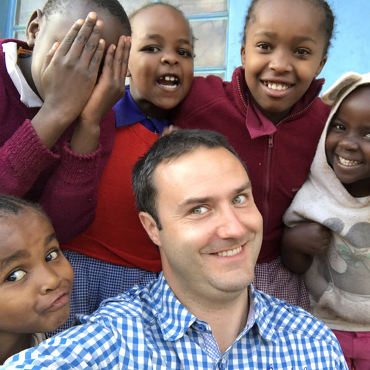 Co-Founder Thomas Poelmans visiting the local village in Kenya