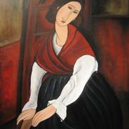 Modigliani's Jeanne Hebuterne with Red Shawl