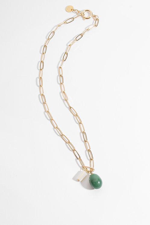 Collar Loto · Cuarzo verde & Madre Perla