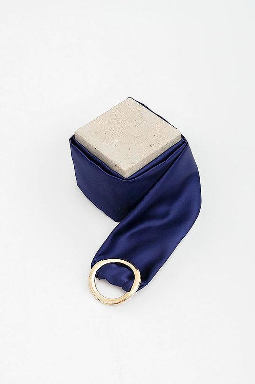 Cinturón de raso María · azul marino