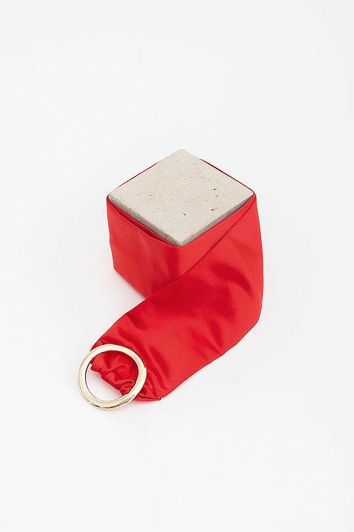 Cinturón de raso María · rojo valentino