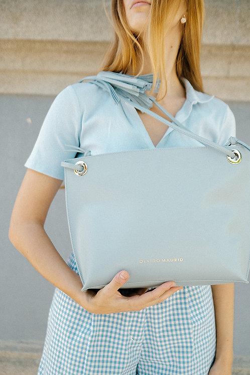 Tote Bag Bea · Piel Azul Clarito