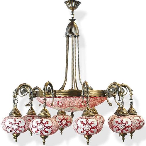LARGE MOSAIC CHANDELIER, 9 LAMPS