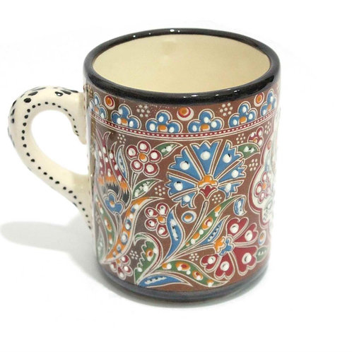 HANDMADE TURKISH CERAMIC COFFEE CUP, MULTI