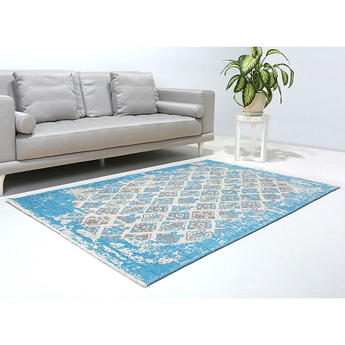BLUE AND GREY TURKISH REVERSIBLE CARPET, WASHABLE