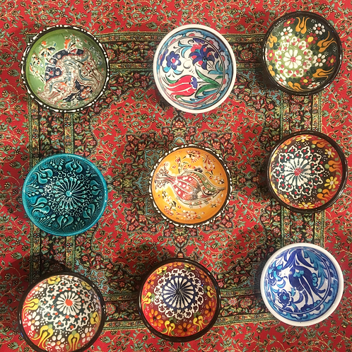 TURKISH CERAMIC MEZE BOWL SET OF NINE, 5 cm
