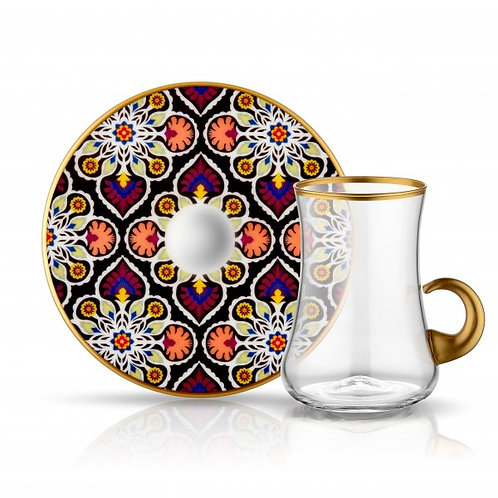 LUXURIOUS TURKISH TEA GLASS SET FOR SIX, FLORAL 003