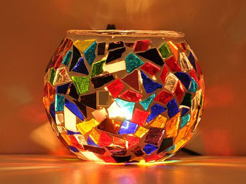 TURKISH  MOSAIC CANDLE HOLDER, ORIENTAL COLORS