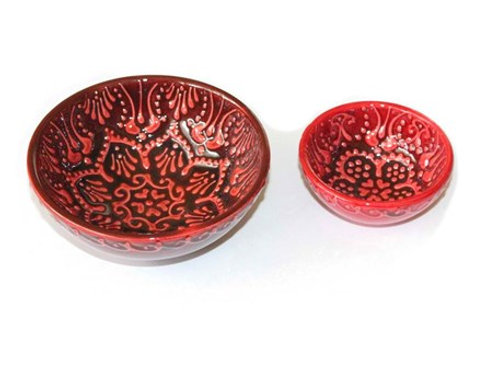 TURKISH CERAMIC MEZE / TAPAS BOWL SET OF TWO, RED
