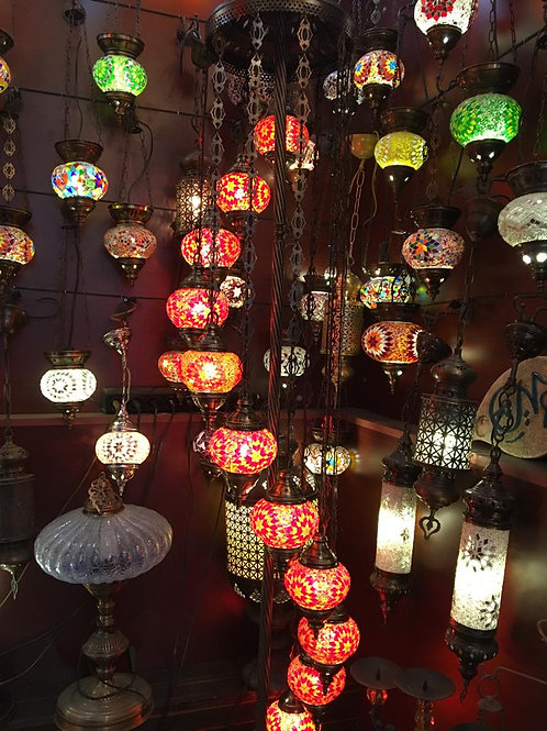 SPIRAL MOSAIC CHANDELIER, 11 LAMPS, MULTI-COLOR
