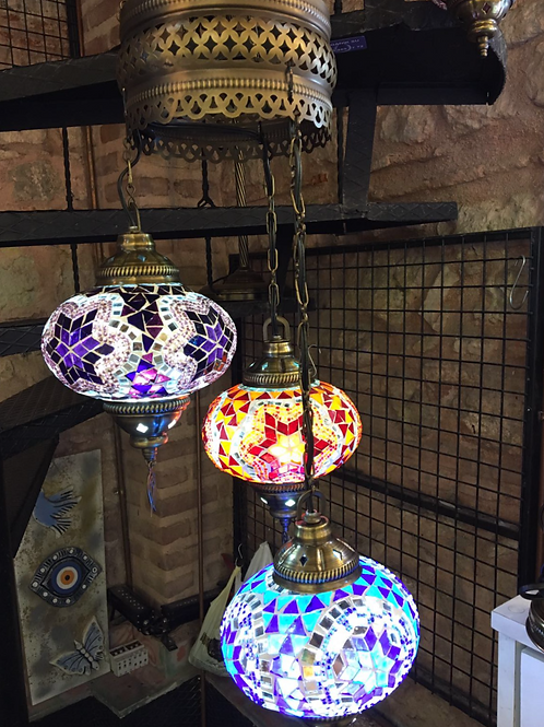 TURKISH MOSAIC CHANDELIER , 3 LAMPS, LARGE GLOBES NO 3