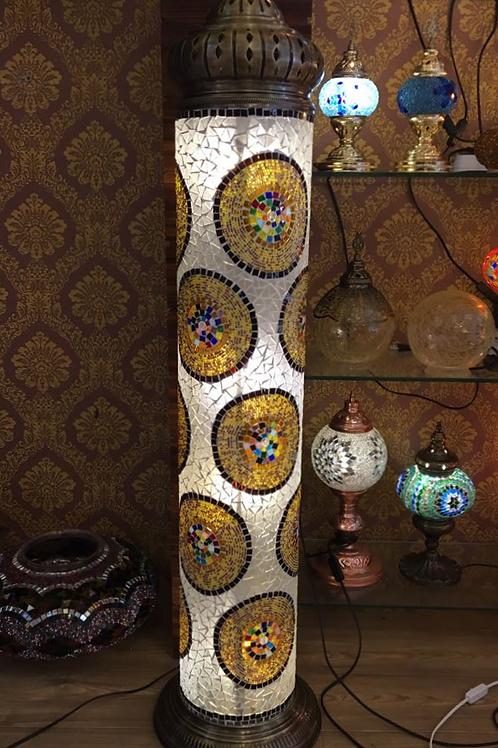 EXTRA LARGE HANDMADE TURKISH MOSAIC FLOOR LAMP, WHITE