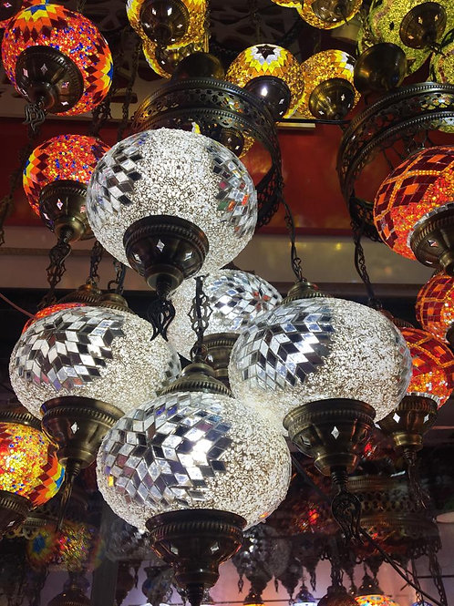 TURKISH MOSAIC CHANDELIER, 5 LAMPS, WHITE, NO 3