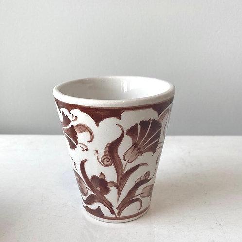HANDMADE TURKISH CERAMIC COFFEE CUP, BROWN AND WHITE
