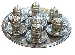 %100 COPPER HANDMADE TURKISH COFFEE SET FOR SIX