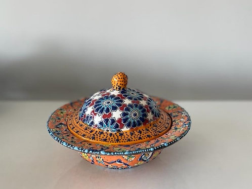 TURKISH CERAMIC SUGAR BOWL WITH LID, 029