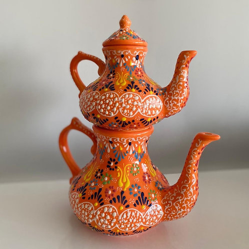 TURKISH CERAMIC TEA POT, DOUBLE CAYDANLIK, ORANGE