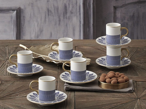 PORCELAIN TURKISH COFFEE SET FOR SIX, ELEGANCE 002