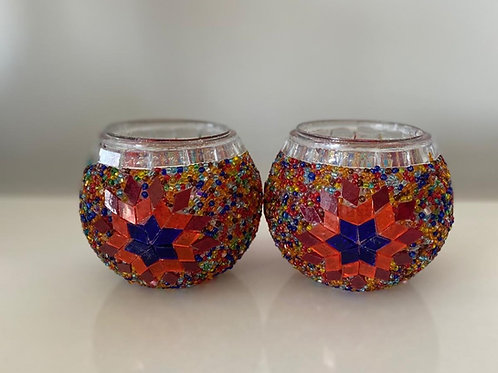 MOSAIC CANDLE HOLDER SET OF TWO, MULTI COLOR, RED
