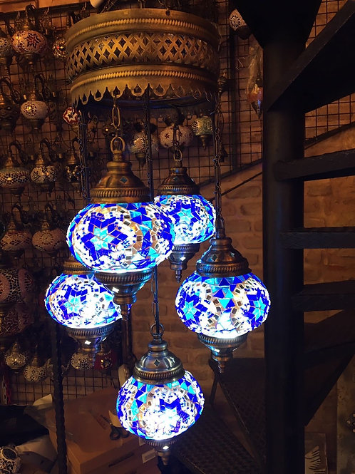 TURKISH MOSAIC CHANDELIER, 5 LAMPS, NO 2