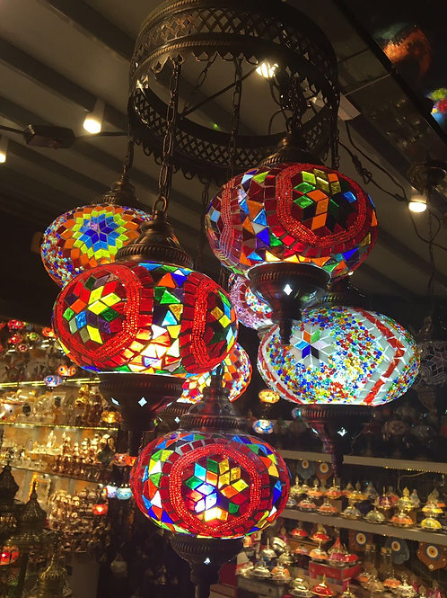 TURKISH MOSAIC CHANDELIER, 7 LAMPS