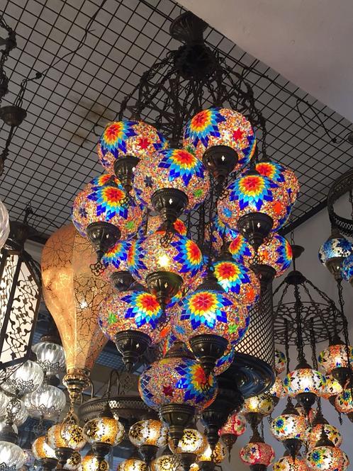 TURKISH MOSAIC CHANDELIER, 19 LAMPS
