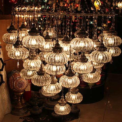 AMAZING LARGE PYREX TURKISH CHANDELIER, 42 LAMPS