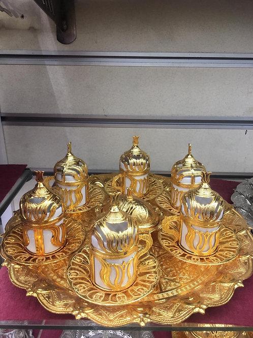 5x TURKISH TEA SET FOR SIX, GOLD