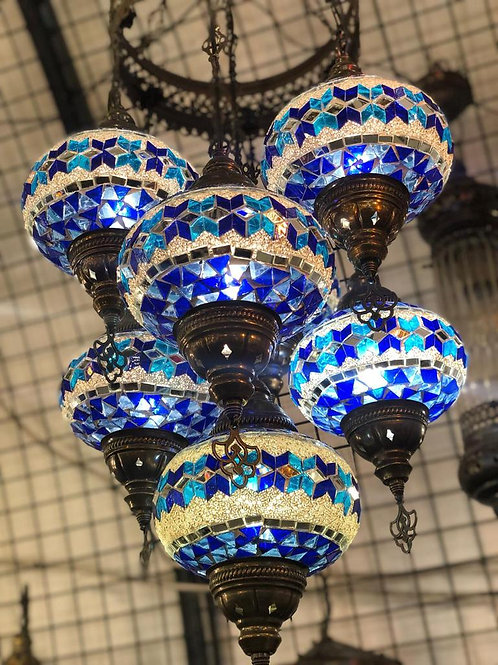 TURKISH MOSAIC CHANDELIER, 7 LAMPS, WHITE AND BLUE