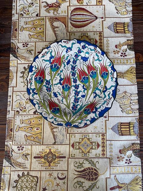 "ORIENTAL TABLE RUNNER, 45 x 130 cm ( 17.7 "" x 51 "" ), CAPPADOCIA WHITE"