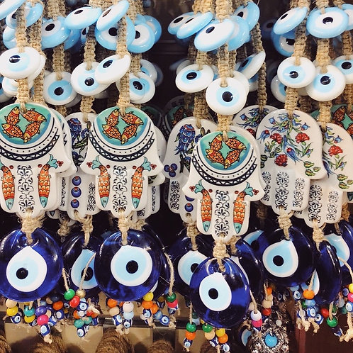 15x ASSORTED EVIL EYE HANGING WITH CERAMIC DETAIL