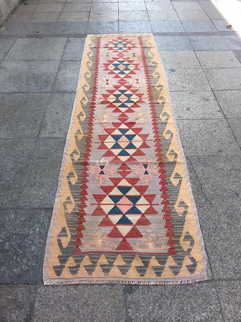 "TURKISH KILIM RUNNER, 112 "" x 31 "" ( 287 x 80 cm )"