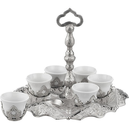TURKISH COFFEE SET FOR SIX, SILVER