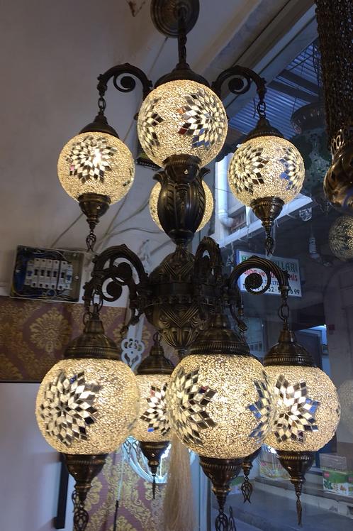 TWO TIER UNIQUE MOSAIC CHANDELIER, 10 LAMPS