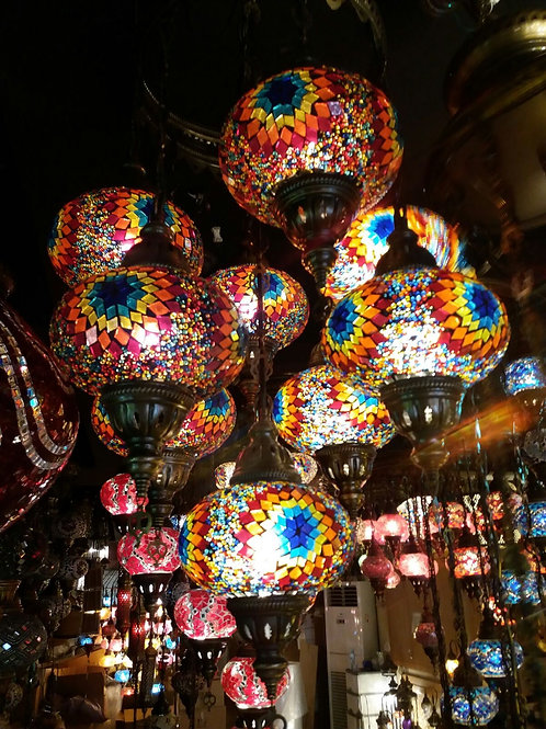 TURKISH MOSAIC CHANDELIER, 9 GLOBES, MULTI COLOR