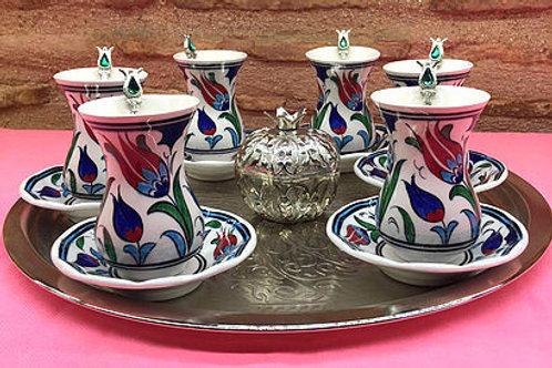 HANDMADE TURKISH TEA SET, IZNIK CERAMICS&C