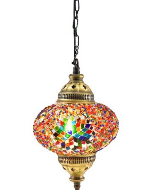 SINGLE MOSAIC HANGING LAMP, 18 CM, MULTI-COLOR