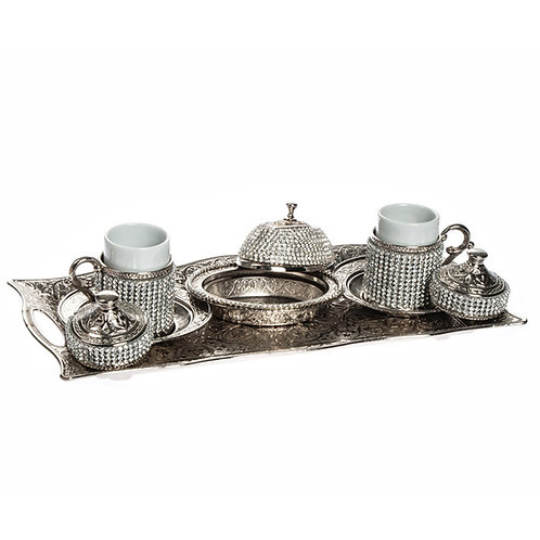 CRYSTAL COATED TURKISH COFFEE SET FOR TWO