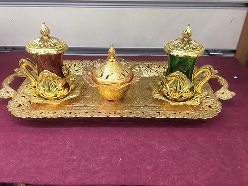 5x TURKISH TEA SET FOR TWO, GOLD