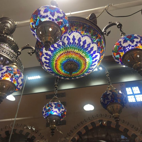 Grand bazaar shopping buy from grand bazaar istanbul shops large mosaic chandelier 6 globes aloadofball Images