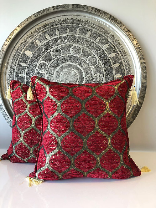 ORIENTAL TURKISH PILLOW SET OF TWO, 00350, RED