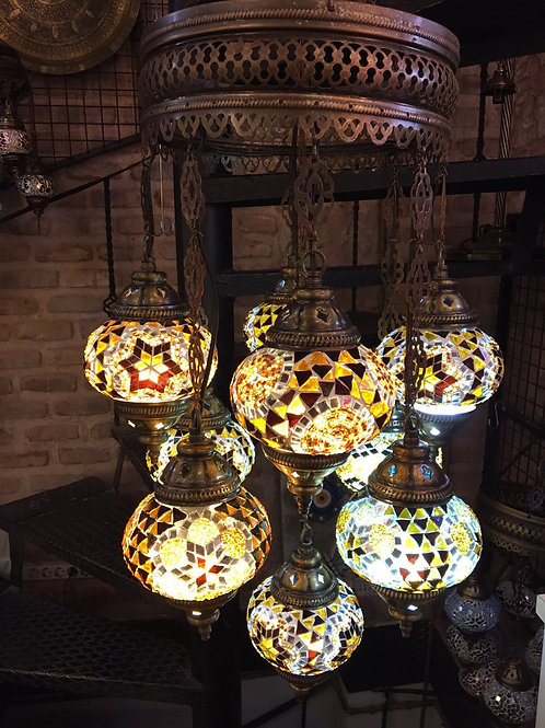 YELLOW MOSAIC CHANDELIER, 9 LAMPS, NO 2