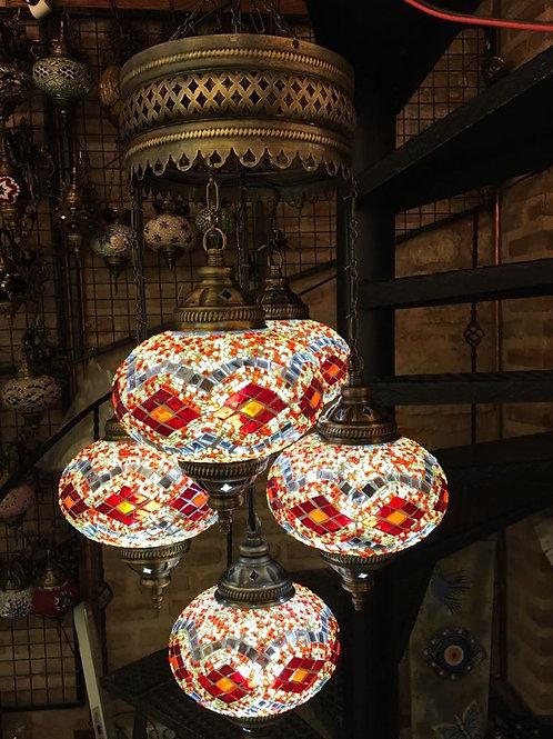 TURKISH MOSAIC CHANDELIER, 5 LAMPS