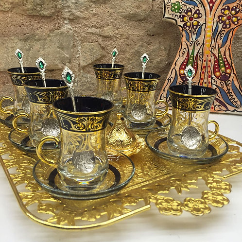 LUXURIOUS TURKISH TEA SET FOR SIX