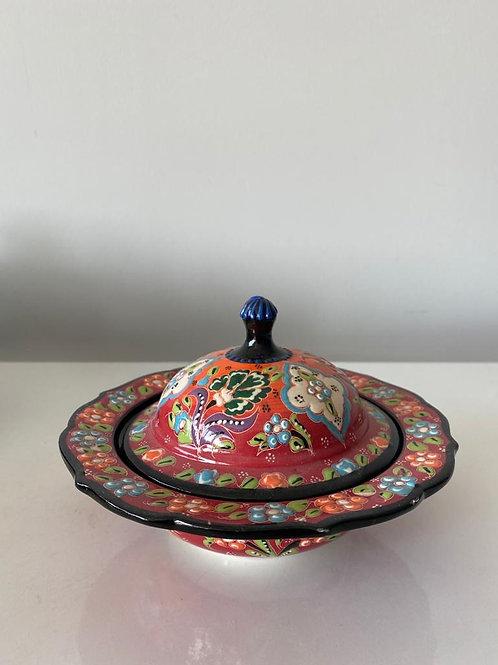 TURKISH CERAMIC SUGAR BOWL WITH LID, 030, RED